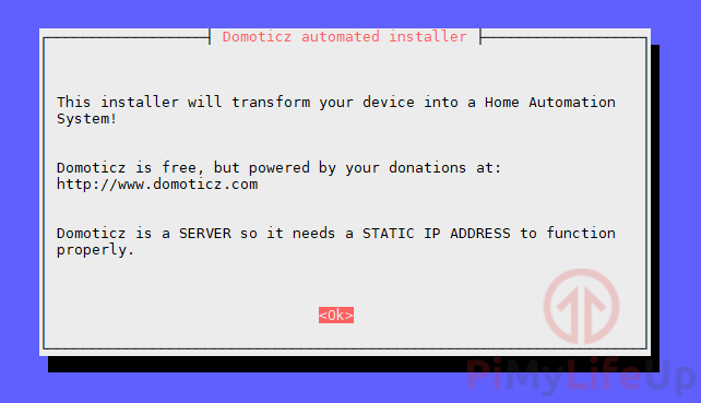 Domoticz Automated Installation Start Screen