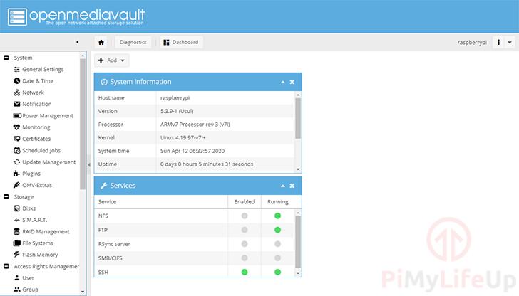 OpenMediaVault Dashboard