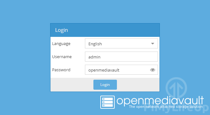 Raspberry Pi OpenMediaVault Login Screen