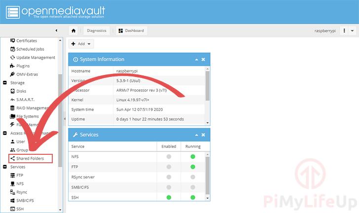 Raspberry Pi OpenMediaVault Shared Folders Menu