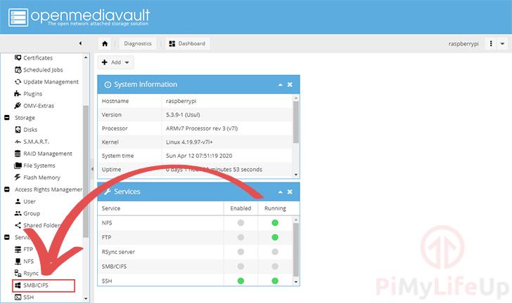 Raspberry Pi OpenMediaVault SMB-cifs sidebar menu option