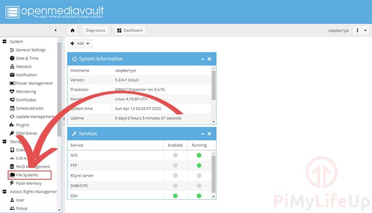 OpenMediaVault Filesystems Sidebar Menu