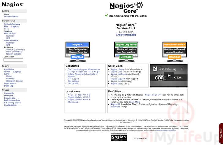Nagios Homepage running