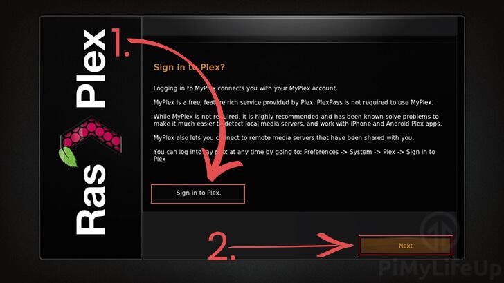 Sign in to Plex through interface