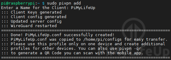 Creating a WireGuard Profile on Raspberry Pi
