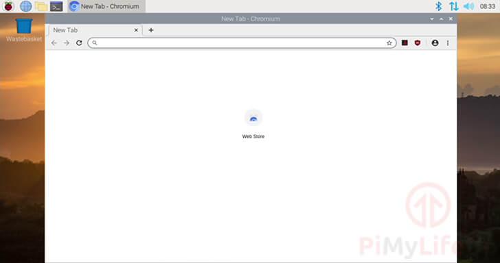 Chromium Web Browser running on the Raspberry Pi