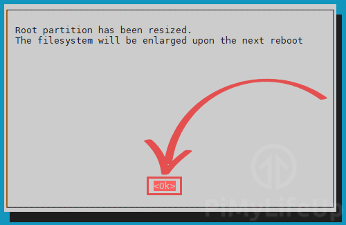 root partition successfully resized