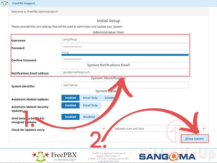 Create account on FreePBX