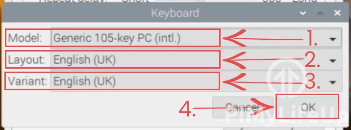 Raspberry Pi Keyboard Layout Dialog