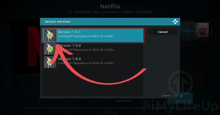 Select latest version of Netflix Addon for Kodi