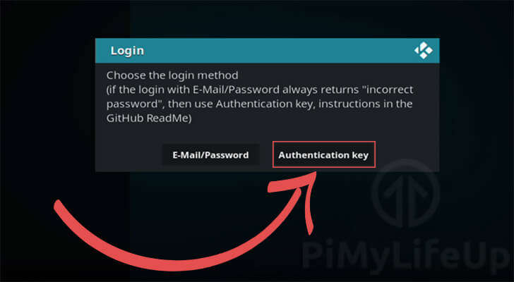 Choose Login Option for Auth Key