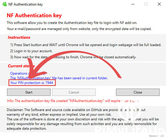 Pin code for Authentication Key