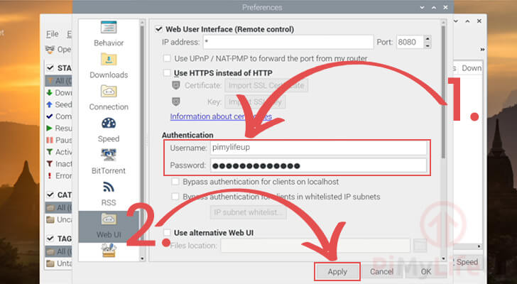 Change authentication for qBittorrent web ui