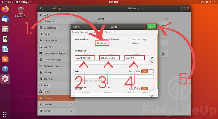 Setting a Static IP address with Ubuntu Desktop 18.04
