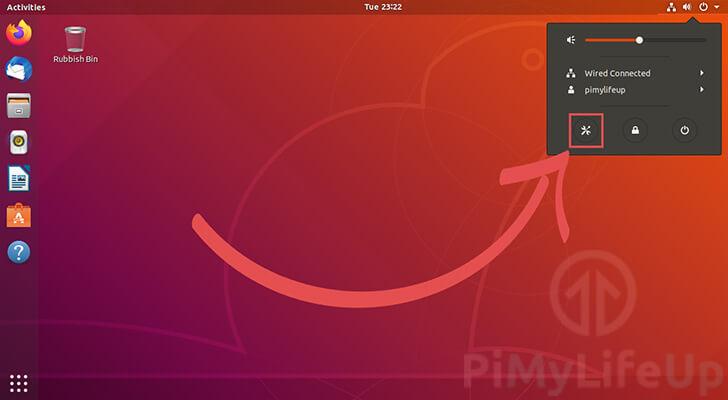 Open the Ubuntu 18.04 Settings Page