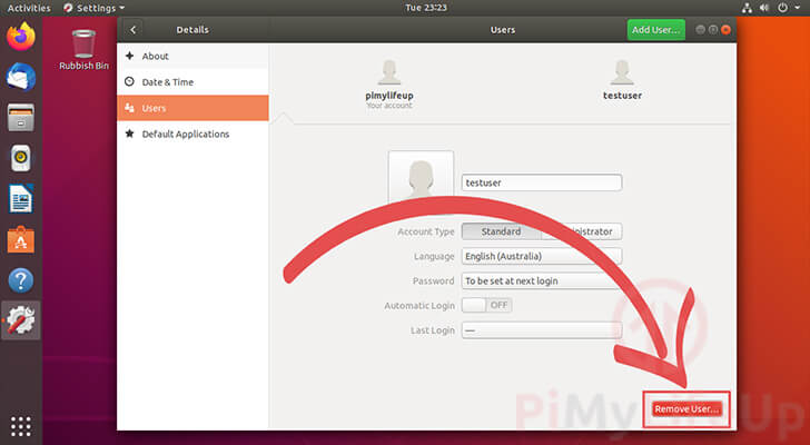 Delete user from Ubuntu 18.04