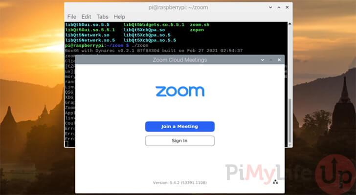 Raspberry Pi Zoom Running Successfully using Box86
