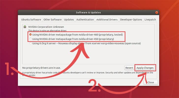 Select NVIDIA Driver to install on Ubuntu 18.04