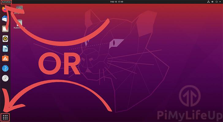 Opening the Activities Screen on Ubuntu 20.04