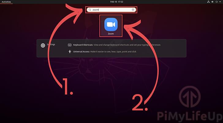 Loading Zoom from Activities on Ubuntu 20.04