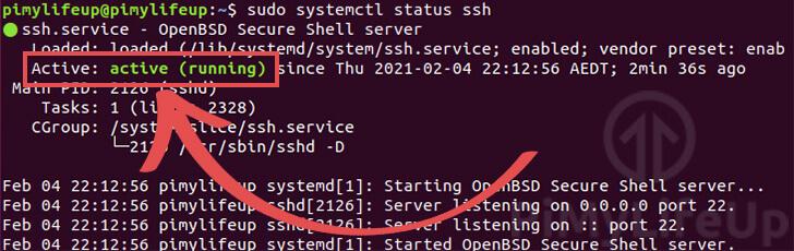 Check status of SSH server on Ubuntu