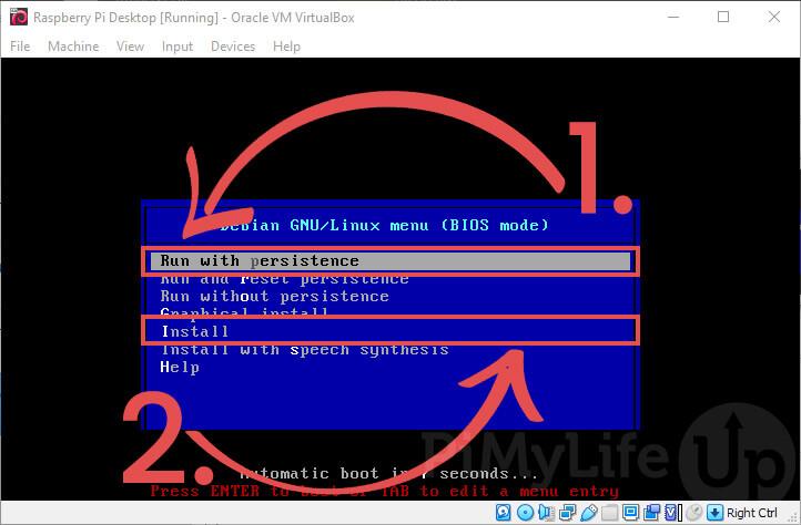 Select to Run or Install Pi Desktop OS