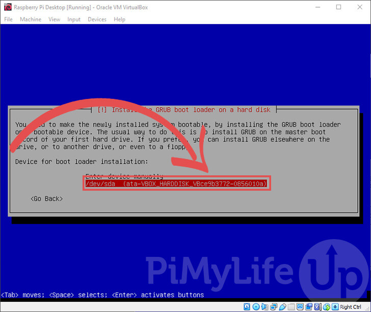 Choose Drive to Install Bootloader