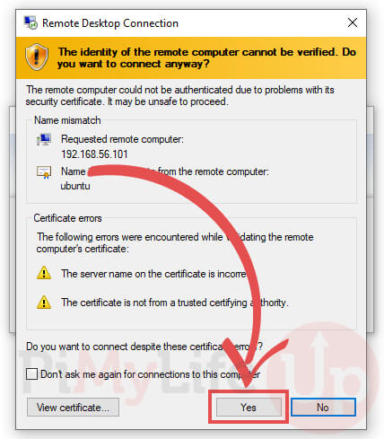 New Certificate for Connection to xrdp Ubuntu Server