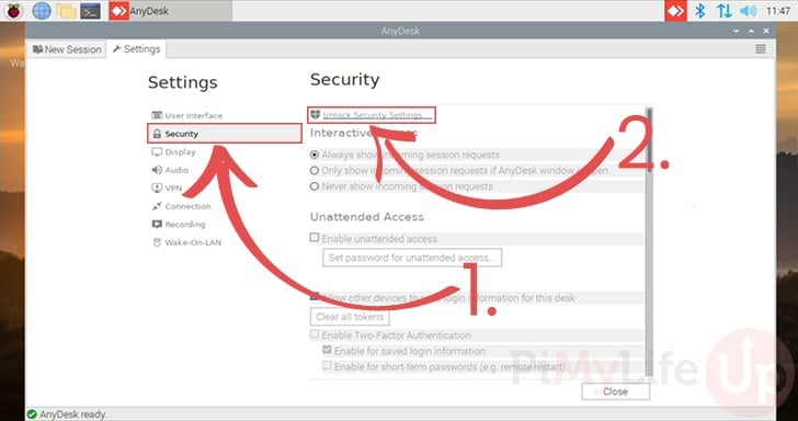Unlock AnyDesk Security Settings for the Raspberry Pi