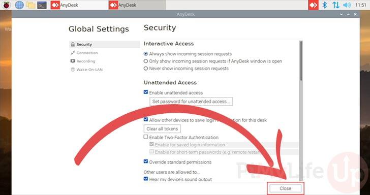Close settings panel