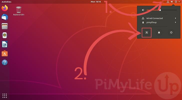 Open Settings on Ubuntu 18.04
