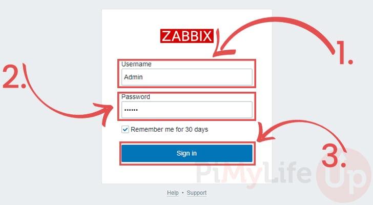 Login to Zabbix running on the Raspberry Pi