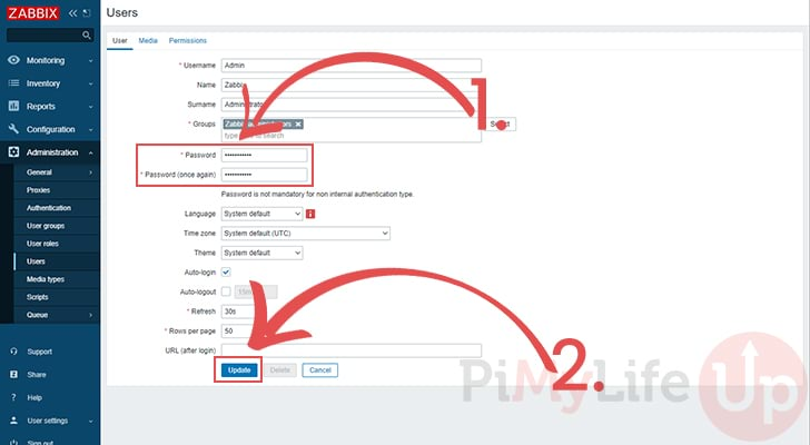 Raspberry Pi Zabbix set new password for user