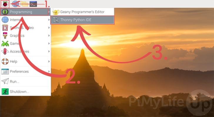 Loading the Thonny Python IDE on the Raspberry Pi