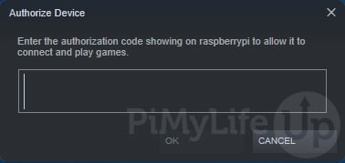 Dialog asking for authorization PIN to be entered on Steam Client