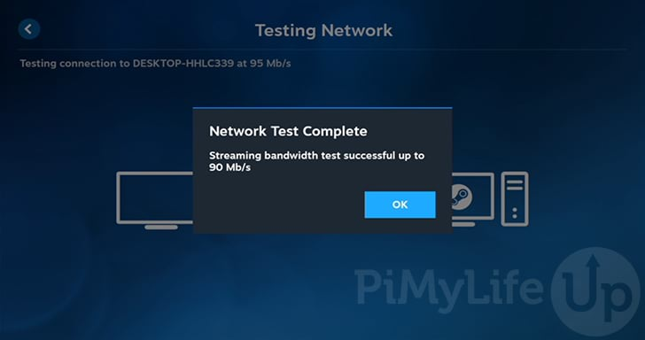 Raspberry Pi Steam Link Network Test Completed