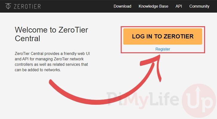 Register to ZeroTier Central