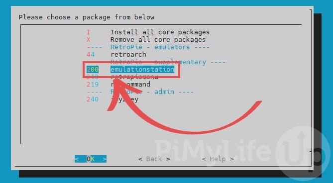 Choose EmulationStation package for Raspberry Pi