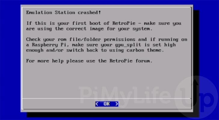 RetroPie EmulationStation Crashed Error