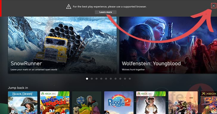 Close Browser is not supported by Xbox Cloud Gaming Message